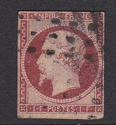 FRANCE 1853. N°18, 1FR CARMIN OBLITERE ET AUTHENTIQUE. 3250€. [A492]
