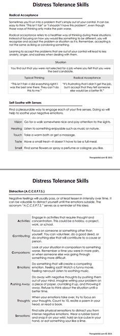 Distress tolerance skills refer to a type of intervention in Dialectical Behavioral Therapy (DBT) where clients learn to manage distress in a healthy. Therapy Worksheets, Art Therapy Activities, Counseling Activities, Radical Acceptance, Mental Health Counseling, Counseling Office, Emotional Regulation, Cognitive Behavioral Therapy, Morrisons