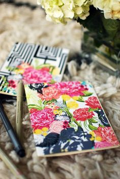 MODERN ECLECTIC mini blank notebook jotter two by khristianahowell - mod podge all the pretty florals on notebooks
