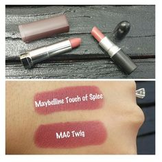 M.A.C. twig's dupe: Maybelline touch of spice. It's always awesome to find a good dupe (: Pinterest: @RaelinaTerry