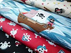Pirate Ships on Sea from Makower and Henley Studios Pirate Treasure, Treasure Maps, Pirate Quilt, Pieces Of Eight, Pirate Ships, Andover Fabrics, Textile Design, Pirates, My Design