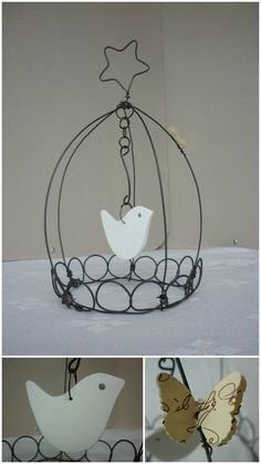 Wire Crafts, Metal Crafts, Easy Crafts, Diy And Crafts, Arts And Crafts, Metal Hangers, Iron Art, Bird Cages, Wire Work