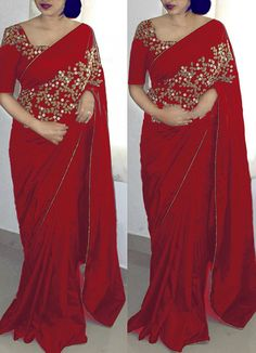 Dazzling Red Color Paper Silk Embroidered Designer Saree with blouse piece Raw Silk Saree, Chiffon Saree, Silk Sarees, Cotton Saree, Khadi Saree, Georgette Sarees, Indian Sarees, Saree Blouse Neck Designs, Saree Blouse Patterns