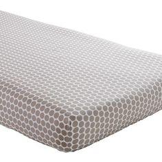 The Land of Nod | Crib Sheets: Khaki Polka Dot Crib Sheet in Crib Fitted Sheets