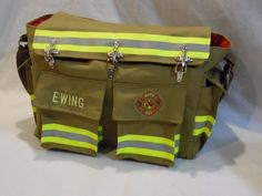 Hybrid Diaper Bag   Firefighter EMS Bunker Gear and Turnout Gear Recycled Bags