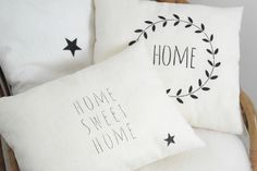 "Collection 100 % lin inspiration scandinave, coussin en lin lavé ""Home Sweet Home"""