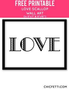 Free Printable Love Scallop Art from @chicfetti