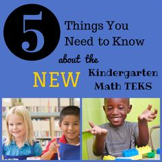 Texas Teacher Round-Up: Five Things You Need to Know about the New Kindergarten Math TEKS Kindergarten Activities, Kindergarten Rocks, Preschool Ideas, School Resources, Math Resources, Texas Teacher, Teacher Hacks, Teacher Stuff, Educational Activities For Kids