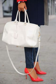 White Duffel Bag, Bright Colored Shoes