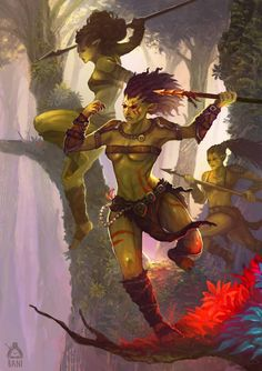 f Half Orc Half Elf Barbarian Monk multi-class Spears CN Wilderness Deciduous Forest Story Sisters of The forest by Banzz lg Orc Warrior, Fantasy Warrior, Fantasy Rpg, Fantasy Artwork, Dark Fantasy, Medieval Fantasy, Dungeons And Dragons Characters, Dnd Characters, Fantasy Characters