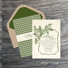 VINTAGE RUSTIC WEDDING Invitations - Garden Floral Woodland - Printable Designs -  Leafy Green. $45.00, via Etsy.