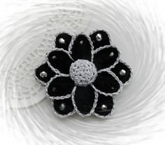 HAND CROCHET BROOCH APPLIQUE GLITTER FLOWER BLACK SILVER FLOWER   in Crafts, Crocheting & Knitting, Other Crocheting & Knitting | eBay