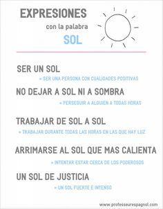 Expresiones con la palabra SOL. Nivel B1. www.professeurespagnol.com