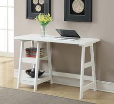 simple small white desk