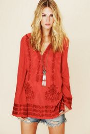 Free People Stripe Hooded Embroidered Tunic at Free People Clothing Boutique