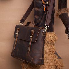 Vintage Handmade Crazy Horse Leather Briefcase Laptop Messenger Bag - Old Brown