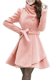 Pink Belt Turndown Collar Wrap Dacron Wool Coat