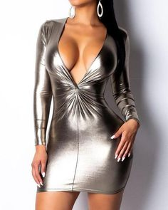 Plunge Twist Front Coated Bodycon Dress We Miss Moda is a leading Women's Clothing Store. Offering the newest Fashion and Trending Styles. Robe Bodycon, Mode Latex, Bodycon Dress Parties, Party Dresses, Longsleeve, Womens Fashion Online, Fashion Women, Tube Dress, Slim Fit
