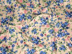 Cream/Blue Floral Print Stretch Cotton Twill Designer Dress Fabric | Fabric | Dress Fabrics | Minerva Crafts - Trousers?