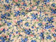 Cream/Blue Floral Print Stretch Cotton Twill Designer Dress Fabric | Fabric | Dress Fabrics | Minerva Crafts - Trousers?