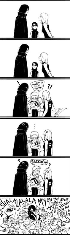 Oh my goodness Naruto. Hahaha. I love it when he calls for backup and Sasuke and Sakura are blocked. Haha