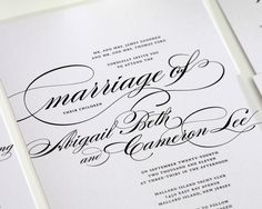Beautiful Wedding Invitation in Black and White with Script - Wedding Invitations by Shine