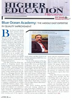 Middle East expertise in Quality Improvement.. ..Higher Education Review, May 2017...Blue Ocean, MD Mr. Abdul Azeez speaks in an exclusive interview..