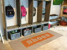 East Coast Creative: Garage Mudroom Makeover {For the REAL Family} A few springs ago I gave my front porch a face lift. I love the door, the tiered planters, (I did a southwest version too) the house numbers… I love it all! BUT… no one ever comes thro… Garage Organization, Garage Storage, Garage Mudrooms, Workshop Organization, Garage Lockers, Organizing, Organization Ideas, Garage Cabinets, Mudroom Cubbies