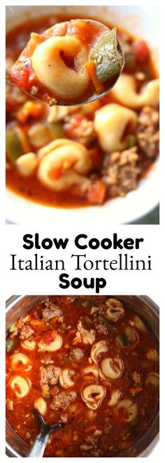 Slow Cooker Italian Tortellini Soup–Italian sausage is browned with onions and garlic and then beef broth, tortellini, tomatoes, green peppers and zucchini are simmered together to produce a soup with ultimate flavor.