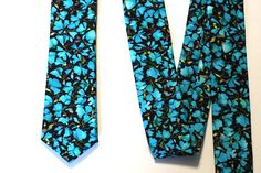 Floral Tie Turquoise Blue - Liberty of London Tie - Bright Mint Neck Ties by VIVIDClothingToronto