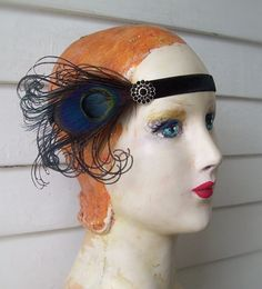 headband flapper headband costume headband black with cruelty free black peacock feathers and rhinestone button - made to order Rooster Feathers, Peacock Feathers, Flapper Headband, Free Black, Iridescent, Halloween Face Makeup, Vintage Fashion, Velvet, Costumes