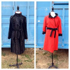 Vintage 50s/60s Black & Red Reversible Faux Fur Coat