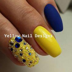 23 Great Yellow Nail Art Designs 2019 - Sunny Yellow Nails - Best Nail World Yellow Nails Design, Yellow Nail Art, Color Yellow, Pretty Nails, Fun Nails, Fake Nails With Glue, American Nails, Finger, Best Nail Art Designs