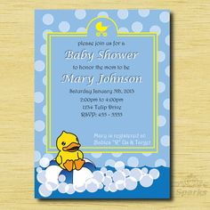 Rubber Ducky party theme invitation, Printable Personalized Rubber Ducky Baby Shower Ideas #DIY . yellow & blue party theme by allisonsparksdecor on Etsy,