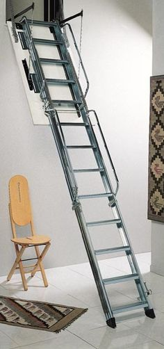 Dimes L3/P Vertical Wall Access Steel Folding Loft Ladder -- The steel ladder comes complete with a steel hatch lining, MDF trapdoor and 2 ladder handrails as standard. It stores completely within the vertical hatch opening. The Dimes L3 is suitable for floor heights from 2750mm to 4000mm and a range of loft opening sizes are available. It comes spring assisted for ease of operation. Each non-slip ladder treads measure 90mm deep and 360mm wide. # From £870.00 + VAT