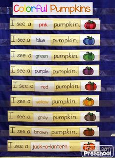 Colorful Pumpkins - Pocket chart for emergent readers. This is perfect for young children to practice sight words, one-to-one matching and color words. It includes a bonus take-home book for students. Fall Preschool, Kindergarten Literacy, Early Literacy, Literacy Skills, Preschool Halloween, Preschool Colors, Literacy Centers, Sight Word Practice, Pumpkins