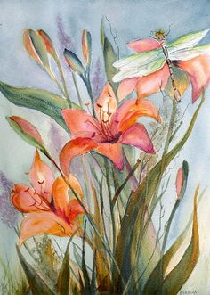 Garden Lily Watercolor Painting - Garden Lily Watercolor Fine Art Print