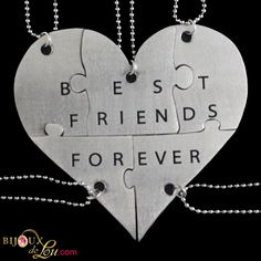 Stainless Steel Best Friends Forever 5-Piece Necklace Set: Made of lasercut stainless steel with a silver color, the heart is 3 inches at the widest point when assembled. It breaks into 5 puzzle piece pendants, each with its own matching 24 inch long silver-plated necklace chain. Limited quantities available. Also sold in a brass version.