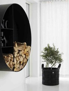 House at 350 Square Feet and High Ceilings with Danish Interior Design - Home Design and Home Interior Firewood Holder, Firewood Storage, Danish Interior Design, Danish Design, Log Wall, Wall Wood, Log Holder, Style Deco, Home And Deco