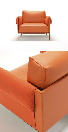 Upholstered leather #armchair GIORGIO by Contempo #orange
