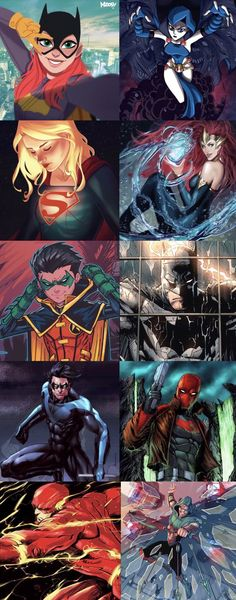 Batgirl. Raven. Supergirl. Mera. Robin. Red Hood. Nightwing. Batman. The Flash. Green Arrow. Mis héroes favoritos