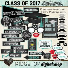 Photo Booth Props CLASS OF 2017 graduation by RidgetopDigitalShop
