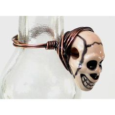 Skull Bead Wire Wrapped Ring | Whether you're channeling Shakespear or just preparing for Halloween this wire ring is exactly what you need!