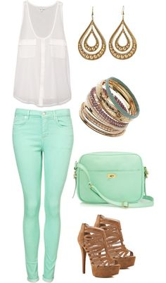 mint skinnes and bag