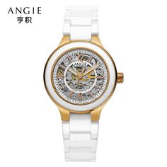 US $102.35 - Real ANGIE Ceramic 50 M Waterproof Luminous Mechanical Wristwatches Scratch Watch Women Ceramic Watch Christmas Gifts A91