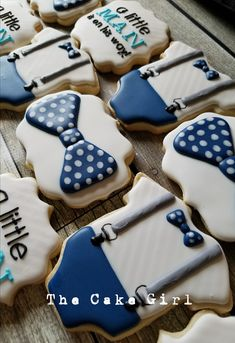 little man baby shower cookies