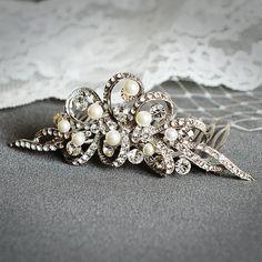 AUDREY Vintage Wedding Hair Comb Swarovski by GlamorousBijoux, $82.00