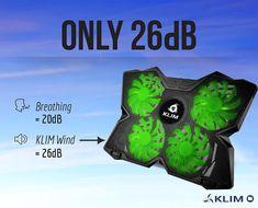 KLIM Wind Laptop-PC Kühler – Leistungsstark wie kein anderer – Schneller Kühlvorgang - 4 Lüfter Belüfteter Notebookständer Gamer Gaming Stützhalterung (Grün)  EUR 29,90
