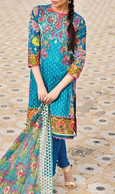 Blue Embroidered Cotton Lawn Dress