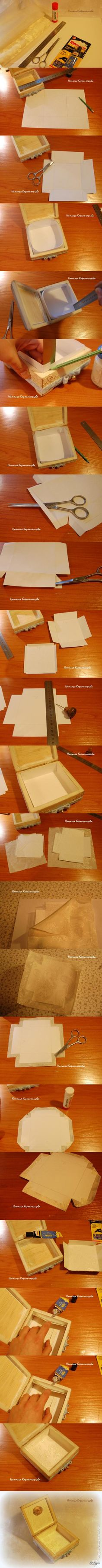 Lining a wooden box Wooden Boxes, Nifty, Home Crafts, Projects To Try, Scrap, Paper, Handmade, Art, Step By Step